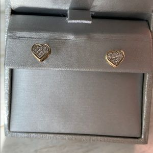 Zales Diamond Heart Stud Earrings in 10K Gold